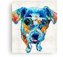 Colorful Little Dog Pop Art by Sharon Cummings Canvas Print