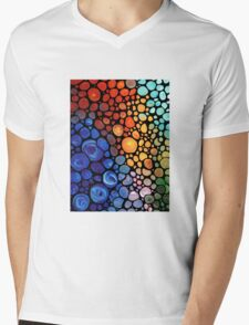Abstract 1 - Colorful Mosaic Painting Labor of Love by Sharon Cummings Mens V-Neck T-Shirt