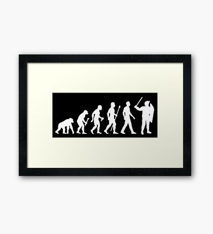 Evolution Of Man Riot Police Framed Print