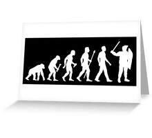 Evolution Of Man Riot Police Greeting Card