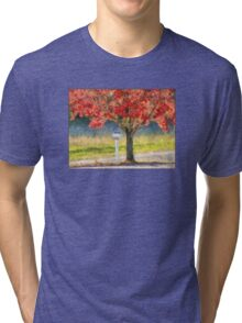 Blazing Bloody Red Dogwood By White Mailbox Tri-blend T-Shirt
