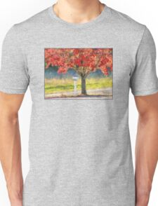 Blazing Bloody Red Dogwood By White Mailbox Unisex T-Shirt