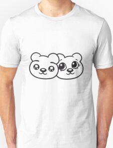 couple couple 2 faces head female girl woman sweet cute comic cartoon teddy bear Unisex T-Shirt