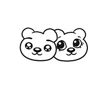 couple couple 2 faces head female girl woman sweet cute comic cartoon teddy bear Photographic Print