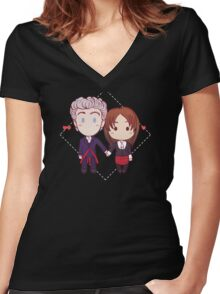 12 and Clara - Chibi Hearts Women's Fitted V-Neck T-Shirt