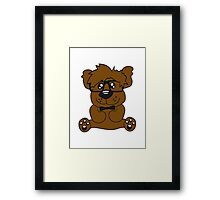 nerd geek smart hornbrille clever fly cool young comic cartoon teddy bear Framed Print