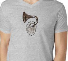 Record Heart Mens V-Neck T-Shirt