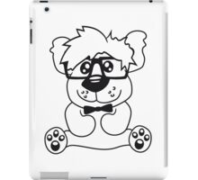 nerd geek smart hornbrille clever fly cool young comic cartoon teddy bear iPad Case/Skin