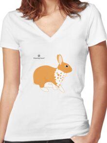 Blanket Brocken Rabbit, Orange Women's Fitted V-Neck T-Shirt