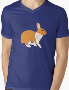 Blanket Brocken Rabbit, Orange Mens V-Neck T-Shirt
