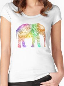 Rainbow Tribal Elephant Women's Fitted Scoop T-Shirt
