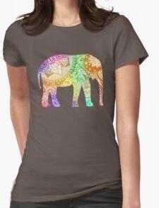 Rainbow Tribal Elephant Womens Fitted T-Shirt