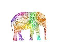 Rainbow Tribal Elephant Photographic Print