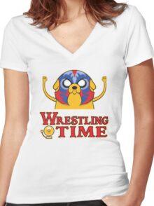 Wrestling Time Women's Fitted V-Neck T-Shirt
