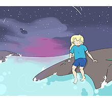 Adventure Time - Finn by the ocean Photographic Print