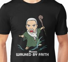 Walked by Faith (Moses) *WHITE TEXT* Unisex T-Shirt