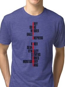 Grey's Anatomy Early Cast Names (black) Tri-blend T-Shirt