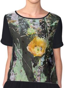 Prickly pear Cactus Flower and Bumble bee Chiffon Top