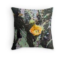 Prickly pear Cactus Flower and Bumble bee Throw Pillow