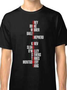 Grey's Anatomy Early Cast Names (white) Classic T-Shirt