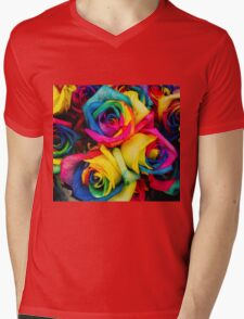 Rose Rainbow Mens V-Neck T-Shirt
