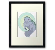 Cute Underwater Manatee with Algae  Framed Print