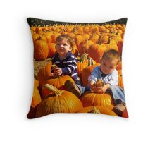 The Boys and the Pumpkins Throw Pillow
