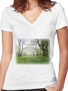 Trees Women's Fitted V-Neck T-Shirt