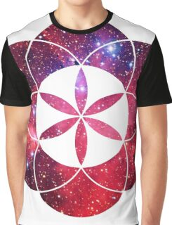 Red Star Clouds | Sacred Geometry Flower of Life Sticker Graphic T-Shirt