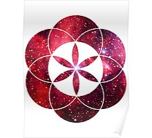 Red Star Clouds V2 | Sacred Geometry Flower of Life Sticker Poster