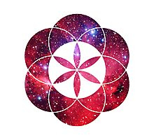 Red Star Clouds | Sacred Geometry Flower of Life Sticker Photographic Print