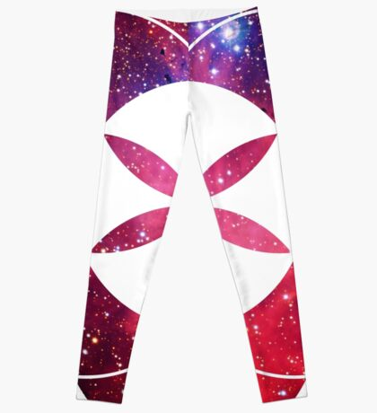 Red Star Clouds   Sacred Geometry Flower of Life Sticker Leggings
