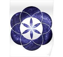 Pinwheel Blue Hue | Sacred Geometry Flower of Life Sticker Poster