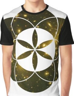 Yellow Galaxies | Sacred Geometry Flower of Life Graphic T-Shirt