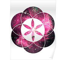 Magellan Red | Sacred Geometry Flower of Life Sticker Poster