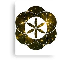 Yellow Galaxies | Sacred Geometry Flower of Life Canvas Print