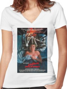 A Nightmare On Elm Street - Original Poster 1984 Women's Fitted V-Neck T-Shirt