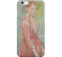 Berthe Morisot - Girl in Rose Dress 1888 Woman Portrait Fashion iPhone Case/Skin