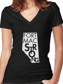 Fort Mac Strong Women's Fitted V-Neck T-Shirt
