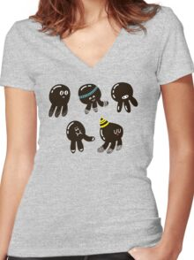 Black cute octopuses Women's Fitted V-Neck T-Shirt