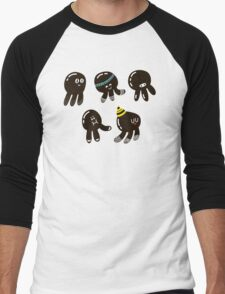 Black cute octopuses Men's Baseball ¾ T-Shirt