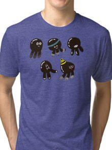Black cute octopuses Tri-blend T-Shirt