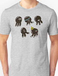 Black cute octopuses Unisex T-Shirt