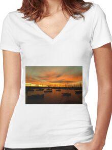 Sunset at St Kilda Pier, Melbourne Women's Fitted V-Neck T-Shirt