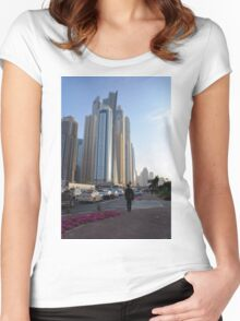 15 March 2016. Photography of street with skyscrapers from Dubai, United Arab Emirates. Women's Fitted Scoop T-Shirt