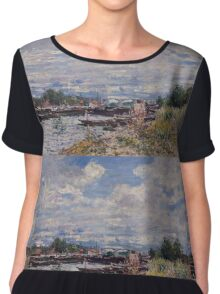 Alfred Sisley - The Seine at Billancourt   French Impressionism Landscape Chiffon Top