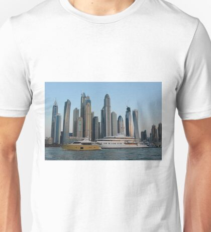 15 March 2016. Photography of skyscrapers skyline from Dubai seen from the water with boats, United Arab Emirates. Unisex T-Shirt