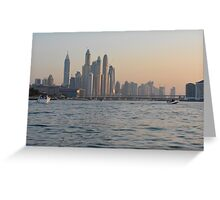 15 March 2016. Photography of skyscrapers skyline from Dubai seen from the water with boats, United Arab Emirates. Greeting Card