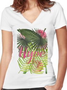 HYPE Women's Fitted V-Neck T-Shirt