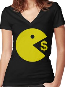 Pacman Pac Man Eating Money - Manny Pacquiao Boxer Women's Fitted V-Neck T-Shirt